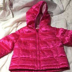 Healthtex pink lined puffed coat hood worn once2t